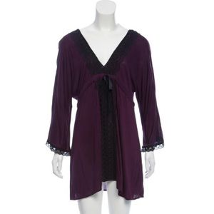 Miguelina Crochet-Accented Draped Purple Top